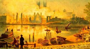 The 1834 fire viewed from the south bank of the Thames, T. Baynes.